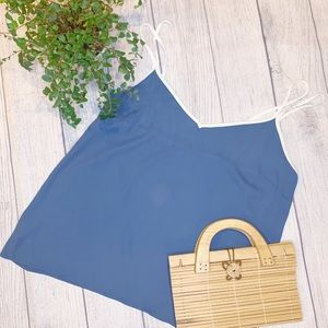 F21 blue & white chiffon-like cami